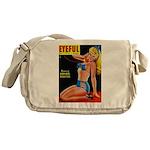 Eyeful Blonde Beauty Pin Up in Blue Messenger Bag