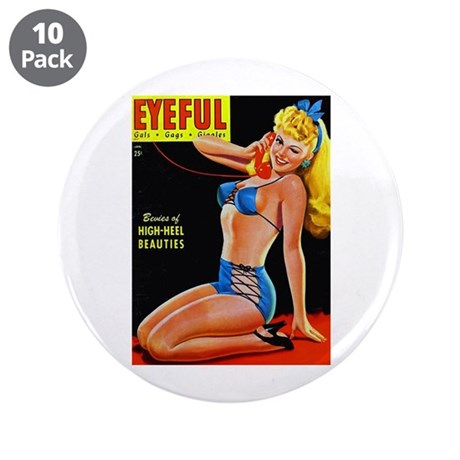 """Eyeful Blonde Beauty Pin Up in Blue 3.5"""" Button (1"""