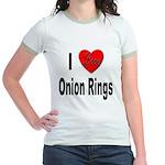 I Love Onion Rings (Front) Jr. Ringer T-Shirt