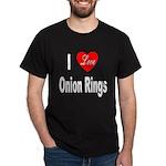 I Love Onion Rings (Front) Black T-Shirt