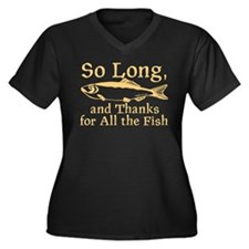 So Long Women's Plus Size V-Neck Dark T-Shirt