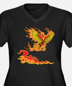 Phoenix and Flames Women's Plus Size V-Neck Dark T