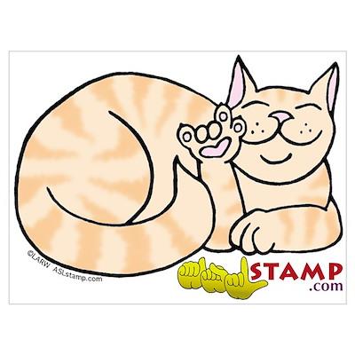Orange Tabby ASL Kitty Poster