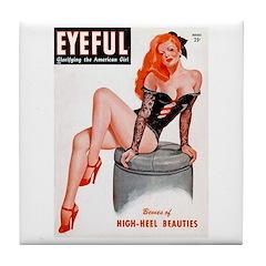 Eyeful Sitting Redhead Beauty Pin Up Tile Coaster