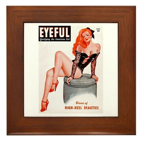 Eyeful Sitting Redhead Beauty Pin Up Framed Tile