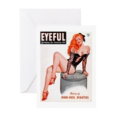 Eyeful Sitting Redhead Beauty Pin Up Greeting Card