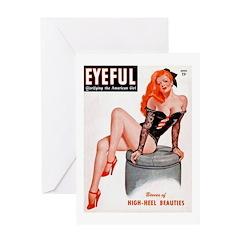 Eyeful Sitting Redhead Beauty Pin Up Greeting Card