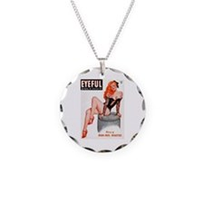 Eyeful Sitting Redhead Beauty Pin Up Necklace