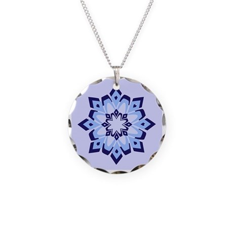 Snowflake Necklace Circle Charm
