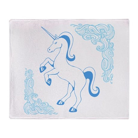 Blue Unicorn Throw Blanket