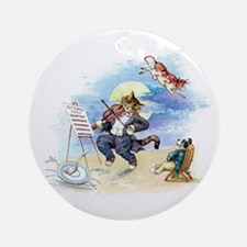Cat and the Fiddle Ornament (Round)