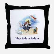 Cat and the Fiddle Throw Pillow