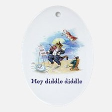 Cat and the Fiddle Ornament (Oval)