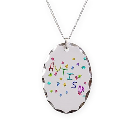 Autism Necklace Oval Charm