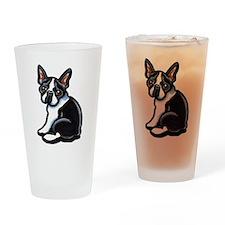 Cute Boston Terrier Drinking Glass
