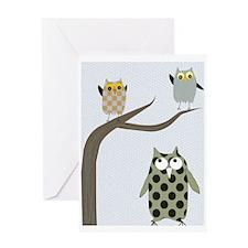 Retro Owls/Birds Greeting Card