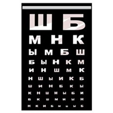 Russian letters Eye Chart (blk) Poster