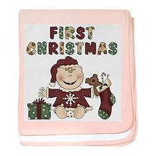 Girl First Christmas baby blanket