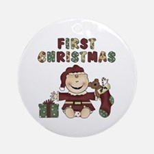 Boy First Christmas Ornament (Round)