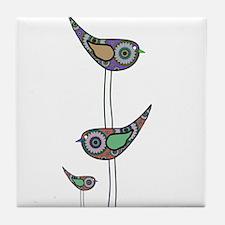 Retro Owls/Birds Tile Coaster