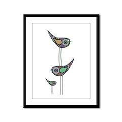 Retro Owls/Birds Framed Panel Print