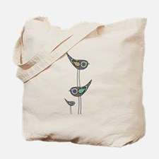 Retro Owls/Birds Tote Bag