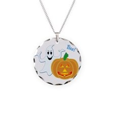 Ghost with Pumpkin Boo! Necklace