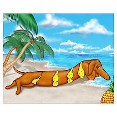 Wiener Dog Babe Poster