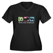 Peace, Love, Leonbergers Women's Plus Size V-Neck