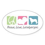 Peace, Love, Leonbergers Sticker (Oval 50 pk)