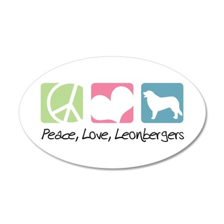 Peace, Love, Leonbergers 22x14 Oval Wall Peel