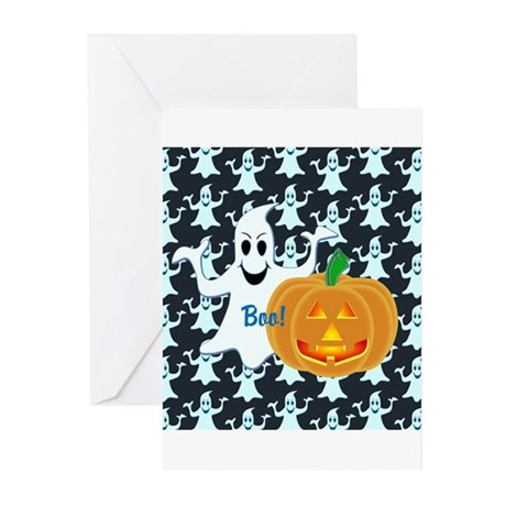Ghost with Pumpkin Boo! DARK Greeting Cards (Pk of