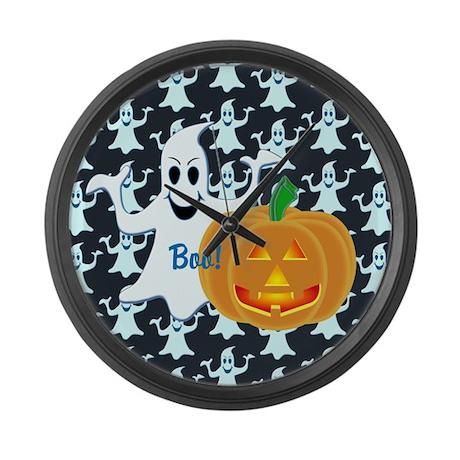 Ghost with Pumpkin Boo! DARK Large Wall Clock