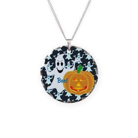 Ghost with Pumpkin Boo! DARK Necklace Circle Charm