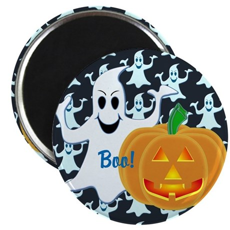 "Ghost with Pumpkin Boo! DARK 2.25"" Magnet (100 pac"