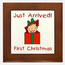 Girl 1st Christmas Framed Tile