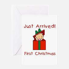 Girl 1st Christmas Greeting Card