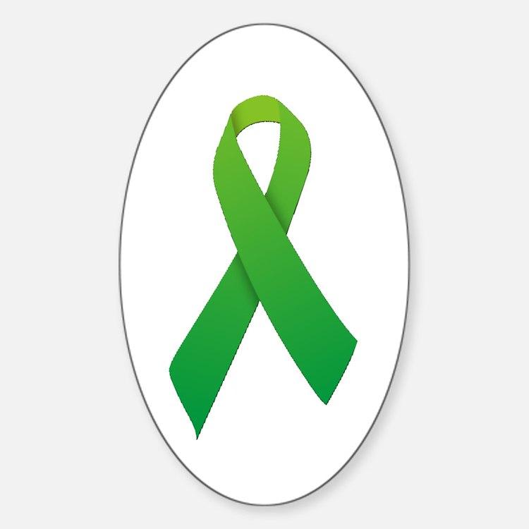 Green Ribbon Sticker (Oval)