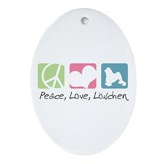 Peace, Love, Löwchen Ornament (Oval)