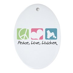 Peace, Love, Löwchen Ornament (Oval)