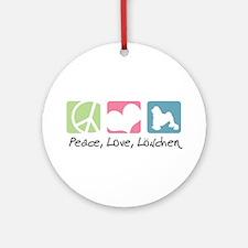 Peace, Love, Löwchen Ornament (Round)