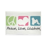 Peace, Love, Löwchen Rectangle Magnet (10 pack)
