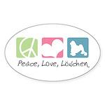 Peace, Love, Löwchen Sticker (Oval 50 pk)