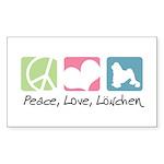Peace, Love, Löwchen Sticker (Rectangle 50 pk)