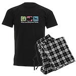 Peace, Love, Manchester Terriers Men's Dark Pajama