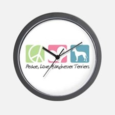 Peace, Love, Manchester Terriers Wall Clock