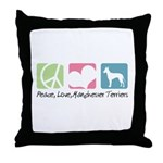 Peace, Love, Manchester Terriers Throw Pillow
