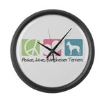 Peace, Love, Manchester Terriers Large Wall Clock