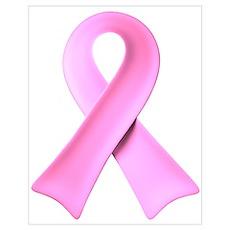 3D Pink Ribbon Poster