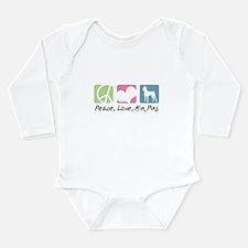 Peace, Love, Min Pins Long Sleeve Infant Bodysuit